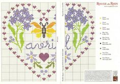 cross stitch hearts of the month birthday 04 of 12 April