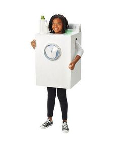 Washing Machine costume made from a cardboard box. (Click to get the how-to.)