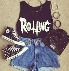 really cool punky style outfit