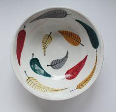 autumn bowl big bowl with leaves por clayopera en Etsy