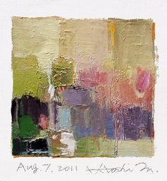 Aug. 07, 2011 - Original Abstract Oil Painting - 9x9 painting (app. 9 cm x 9 cm)…