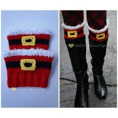 Papai Noel, Gato do Crochê dos Punhos da Bota do Elogio do Feriado -  /    Santa Claus Holiday Cheer Boot Cuffs crochet pattern Cats -