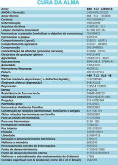 Portal Akasha: Tabela de Sequências Numéricas Grabovoi