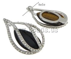 Mixed Gemstone Pendants, with Zinc Alloy, Teardrop, platinum color plated, with rhinestone, 33x53x15mm,china wholesale jewelry beads
