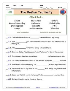 1000+ images about Boston Tea Party Worksheets on Pinterest ...