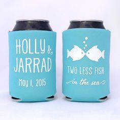 Two Less Fish in the Sea // Personalized Wedding Can Coolers Party Favors