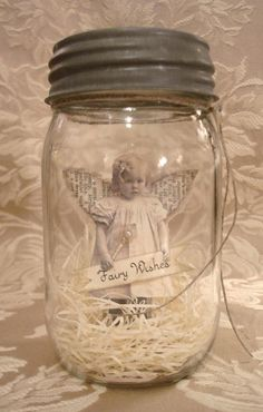 "Fairy or Angel Wishes. Vintage Style ""Fairy Jar"" Using an old Photo and a Mason Jar. Mason Jars, Bottles And Jars, Mason Jar Crafts, Glass Jars, Apothecary Bottles, Christmas Crafts, Christmas Decorations, Snowflake Decorations, Xmas"