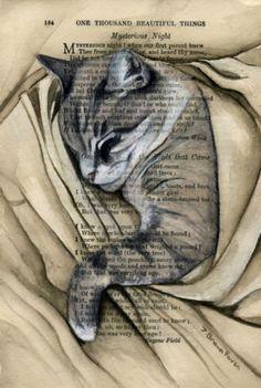 Custom-portrait-de-votre-animal-de-compagnie-chien-chat-a-cheval-sur-antique-book-page-5x7in