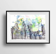 Philadelphia Skyline Art Print From Original Watercolor