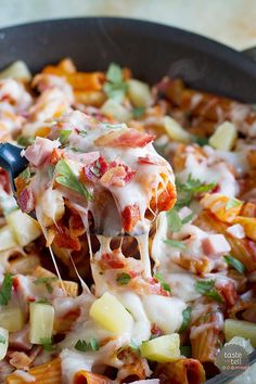 Inspired by our favorite Hawaiian Pizza, this one pan pasta is short on dishes but high on flavor!