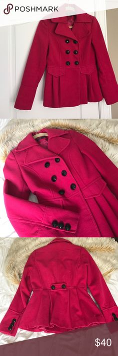 Pink Pea Coat Artifacts XS pink peacoat with black buttons. Adorable little statement piece! 💕 Worn twice Artifacts Jackets & Coats Pea Coats