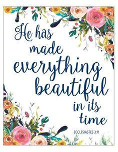 Ecclesiastes 3:11, Christian Wall Art Scripture Print, Bible Verse Print, Printable Floral Wall Art,