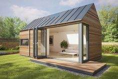 This is the Eco Pod model by Pod Space, a British company that designs and prefabricated garden structures. You can use them as guests houses, micro homes, home offices, garden sheds, or anything e...