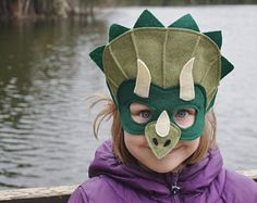 Handmade felt dinosaur mask