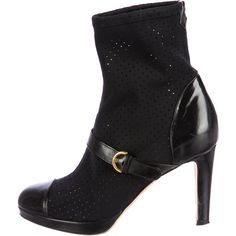 Pre-owned Sergio Rossi Ankle Boots ($175) ❤ liked on Polyvore featuring shoes, boots, ankle booties, black, short leather boots, leather booties, black bootie, black platform booties and platform booties