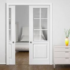 Wonderful Faro White Double Pocket Doors   Clear Glass