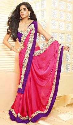 G3 Fashions Magenta Satin Party Wear Designer Saree  Product Code : G3-LS11670 Price : INR RS 3912