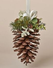 Natural Pine Cone Hanger with Faux Pine, Eucalyputs, Meadow Grass and Ivory Bow Christmas Pine Cones, Irish Christmas, Noel Christmas, Rustic Christmas, Pine Cone Crafts, Christmas Projects, Holiday Crafts, Diy Christmas Ornaments, Christmas Wreaths