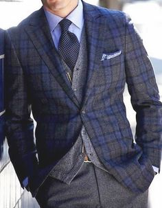 Blue and Grey, 3 pieces Suit.