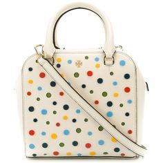 Tory Burch Polka Dot Shoulder Bag ($523) ❤ liked on Polyvore featuring bags, handbags, shoulder bags, white, genuine leather purse, shoulder handbags, tory burch handbags, leather handbags and white purse