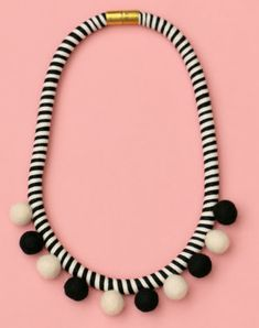 15 Ways to Use Pompoms in Jewelry - Black and white necklace
