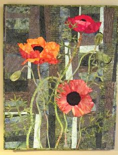 BSL Art quilts. Three poppies.