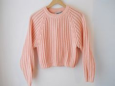 VTG 90s Cropped Pink Thick Ribbed Sweater by sussudionyc on Etsy, $38.00