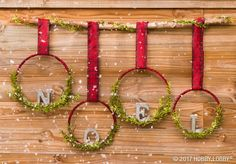 This hung-with-care Christmas craft gets its cheer from festive ribbon, embroidery hoops and holiday greenery! This hung-with-care Christmas craft gets its cheer from festive ribbon, embroidery hoops and holiday greenery! Diy Christmas Ornaments, Homemade Christmas, Rustic Christmas, Christmas Projects, Winter Christmas, Holiday Crafts, Christmas Wreaths, Diy Christmas Wall Decor, Christmas Ribbon Crafts