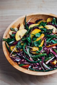 Green Bean Salad with Peaches + Balsamic Vinaigrette