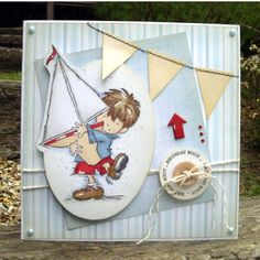Isn't he adorable? Struggle with the mens, I think most of us do. Not so much the image but the embellishments I think. Can't just add a bu. Boy Cards, Kids Cards, Card Making Tips, Making Ideas, Pretty Cards, Cute Cards, Nautical Cards, Candy Cards, Easel Cards