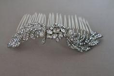 Bridal hair comb  1920S Art Deco style  crystal by Sparklebyelle