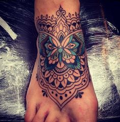 Tattoo by Dom Holmes at The Family Business, London. LOVE this one! The lines, the colours, dont know about having it on my foot though!
