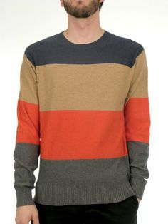 The RVCA Gauged is a yarn-dyed stripe, crew neck jersey knit sweater. It features ribbing at neckband, cuffs, and waistband and a RVCA solo ...