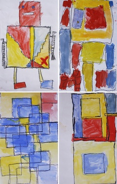 """A first grade art project focusing on primary colors and geometric shapes along with the artist Piet Mondrian."""