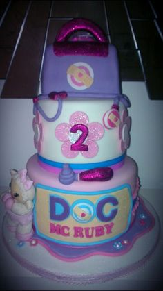 Doc McStuffins tiered birthday cake