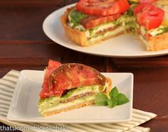 Fresh Tomato Tart with Pesto and Mozzarella.
