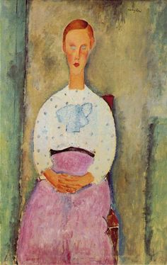 Girl with a Polka-Dot Blouse, Amedeo Modigliani, 1919. The Barnes Foundation. Emulates Cezanne's portraits of his wife.