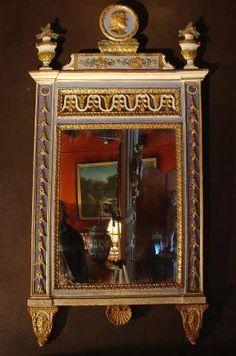 Miroir fin 18eme italien, polychrome