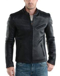 Black Biker Simple Leather Jacket 2017 sale price available on styloleather.com