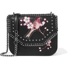 Stella McCartney The Falabella embroidered faux leather shoulder bag  featuring polyvore 93ea9a74053cf