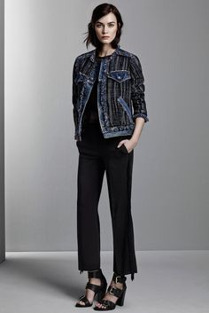 Denim jacket made interesting - Rebecca Taylor Pre-Autumn-Winter 2015-2016 (Pre-Fall 2015), shown December 2014