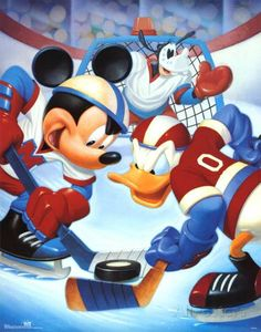 Walt Disney Mickey Mouse and Friends Ice Hockey Art Print Poster - Walt Disney Mickey Mouse, Mickey Mouse And Friends, Hockey Posters, Hershey Bears, Hockey Pictures, Donald And Daisy Duck, Cute Disney Pictures, Funny Art, Ice Hockey