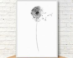 Gray Dandelion Flower Minimalist Painting Set 2 by ColorWatercolor