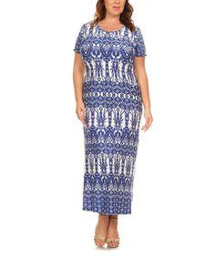 Navy Floral Geomeric Maxi Dress - Plus #zulily #zulilyfinds