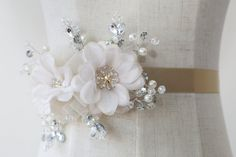 millinery flower sash | http://emmalinebride.com/bride/does-your-dress-need-a-sash/