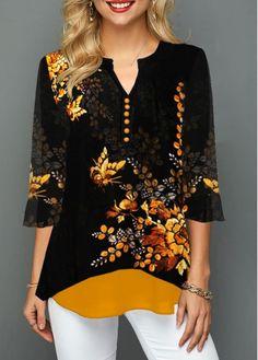 Tops For Women Split Neck Button Detail Flower Print Blouse Trendy Tops For Women, Blouses For Women, Women's Blouses, Blouse Styles, Printed Blouse, Casual Tops, Casual Outfits, Fall Outfits, Print Button