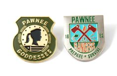 -Become a member of the Pawnee Goddesses and Pawnee Rangers!-Soft Enamel -Both measure 1.25 inches in size-Golden polish finish on Pawnee Goddesses and silver polish on Rangers-Comes with a secure rubber backer-Arrives safetly to you within a resealable plastic package