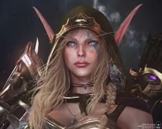 This is a Fan Art of Alleria Windrunner from WoW, World of Warcraft. I aimed to show the big contrast between Alleria and her sister, Sylvanas. I've tried to put so much effort on making the facial look with extra detail. World Of Warcraft Characters, Female Characters, Female Character Design, Character Art, Zelda Cosplay, Anime Cosplay, Larp, Cyberpunk, Sylvanas Windrunner