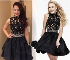 2015 High Neck Black Lace A-line Short Prom Dresses 2015 Homecoming Dress Graduation Party Gowns
