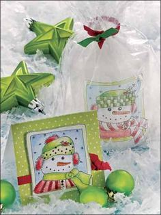 Make a card and matching candle for a winter gift. Downloads and printables on this site :)